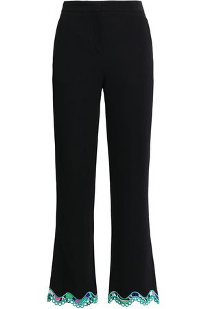 Emilio Pucci Woman Scalloped Lace-trimmed Stretch-crepe Kick-flare Pants Size 38