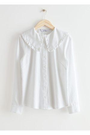 & OTHER STORIES Ruffled Collar Cotton Denim Shirt