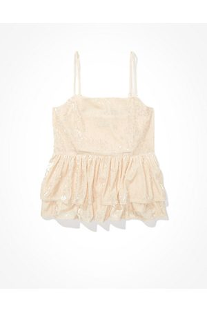American Eagle Outfitters Velvet Tiered Babydoll Top Women's XS
