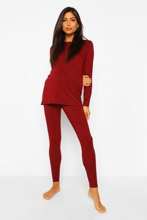 Boohoo Womens Maternity Button Front Long Sleeve Pajama Set - - 4