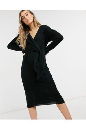 Style Cheat Emilia knit midi dress with tie in