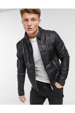 ASOS Leather harrington jacket in