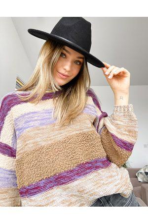 JDY High neck sweater in stripe-Multi