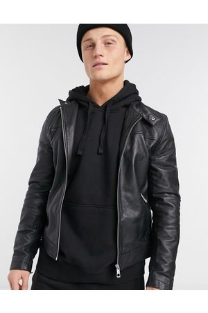 ASOS Leather racer jacket in