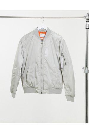 Bershka Padded bomber jacket in -Grey
