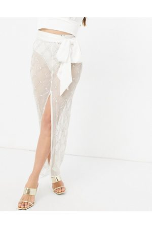 Starlet High waisted diamond embellished midaxi skirt set in