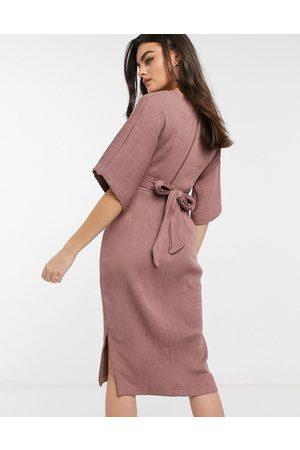 Closet Women Midi Dresses - Ribbed tie kimono sleeve midi dress in winter rose