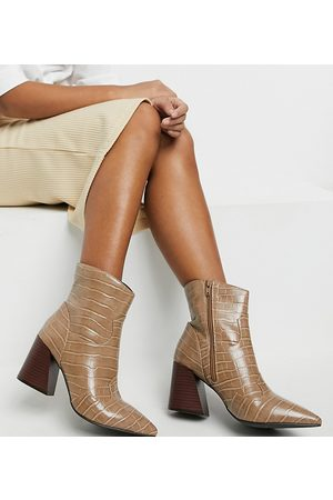 Simply Be Women Heeled Boots - Extra wide fit heeled boot in taupe croc
