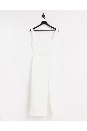 True Violet Exclusive square neck body-conscious midaxi dress with thigh split in ivory