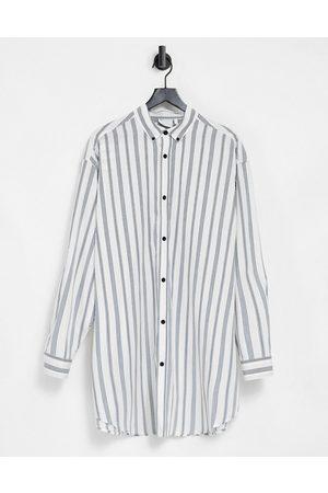ASOS Men Casual - Extreme oversized poplin print shirt in retro stripe