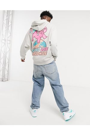 Crooked Tongues Hoodie with spread love back print-Grey