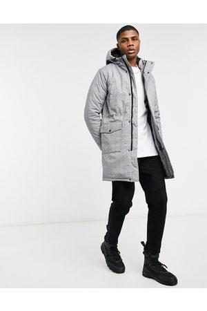 WeSC Parkas - Plaid winter parka jacket-Grey