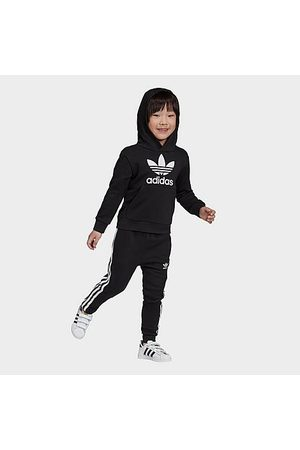 adidas Hoodies - Toddler and Little Kids' Originals Trefoil Pullover Hoodie and Jogger Pants Set in Size Large Cotton/Polyester