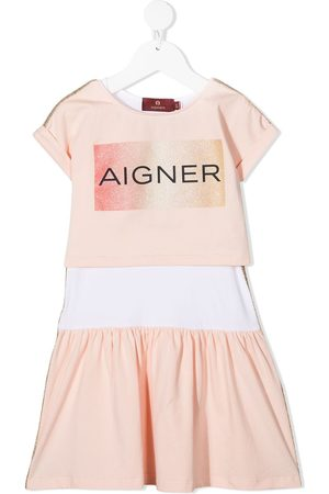 Aigner Logo print short-sleeve dress