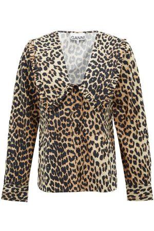 Ganni Ruffled-collar Leopard-print Poplin Blouse - Womens - Leopard