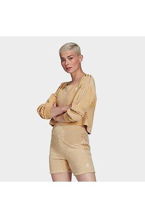 adidas Women Strapless Tops - Women's Originals Velour Off The Shoulder Sweatshirt in Size X-Small Cotton/Polyester/Velour