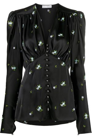 Paco rabanne Floral-embroidered satin blouse
