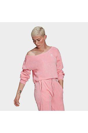 adidas Women's Originals Velour Off The Shoulder Sweatshirt in Size X-Small Cotton/Polyester/Velour