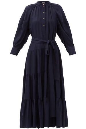 Chloé Balloon-sleeve Tiered Crepe Dress - Womens - Navy