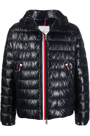 Moncler Wet-look padded logo patch jacket