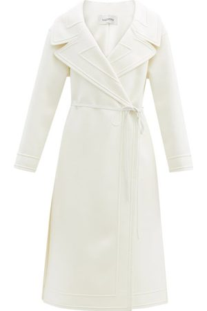 VALENTINO Double-breasted Belted Wool-blend Coat - Womens - Ivory