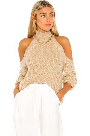 MAJORELLE Estrid Cold Shoulder Sweater in Tan.