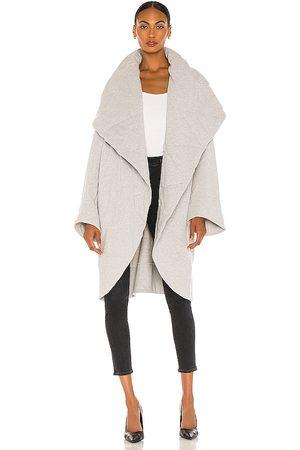 Norma Kamali Shawl Collar Coat in Grey.