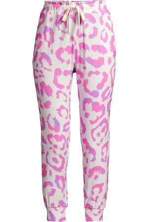 Stripe & Stare Women's Leopard-Print Lounge Pants - - Size Small