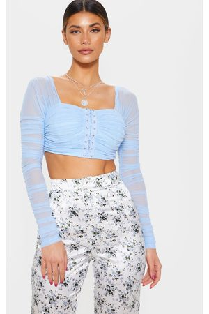 PRETTYLITTLETHING Light Ruched Lace Up Detail Mesh Crop Top