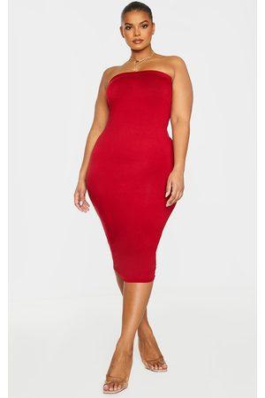 PRETTYLITTLETHING Women Strapless Dresses - Plus Basic Bandeau Midaxi Dress