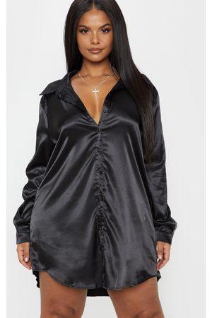 PRETTYLITTLETHING Plus Satin Button Front Shirt Dress
