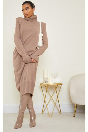 PRETTYLITTLETHING Camel Roll Neck Shoulder Pad Knitted Midi Sweater Dress