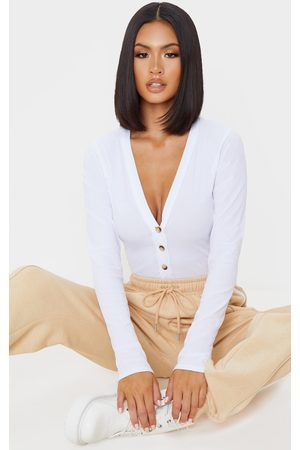 PRETTYLITTLETHING Long Sleeve Button Detail Bodysuit