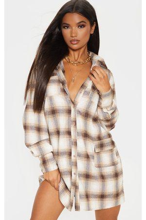 PRETTYLITTLETHING Check Pocket Detail Long Sleeve Shirt Dress