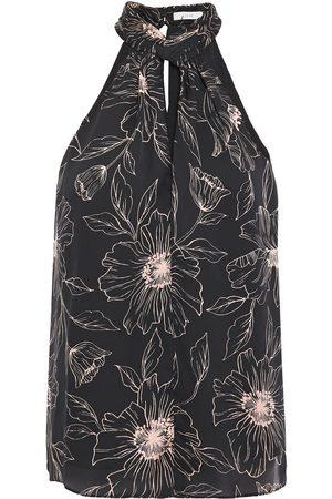 Joie Woman Cutout Floral-print Satin-crepe Top Size L