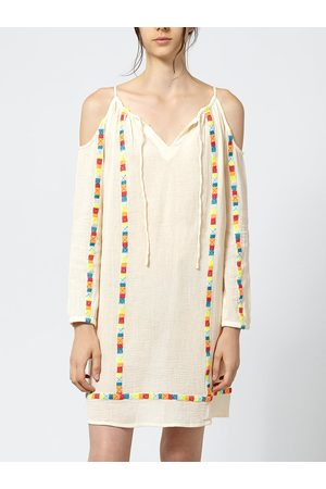 Intropia Fluoro Embroidered Cotton Tunic - Ivory