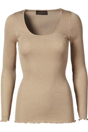 Rosemunde Silk Regular Length Long Sleeve Top With Lurex - Cobblestone Shine