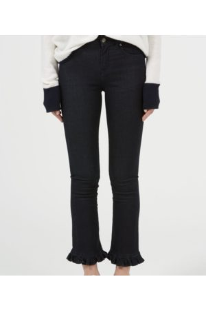 DONNA IDA Iris cropped frilled jeans in Midnight Sky