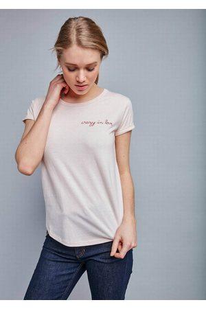 Maison Labiche Women T-shirts - Crazy in Love Cotton Tee - Heather Pink