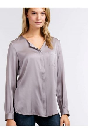 REPEAT cashmere Womens Repeat 600004 Silk Grey or Blue Blouse