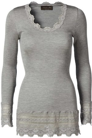 Rosemunde Benita Wide Lace Long-sleeved Top - Light Melange