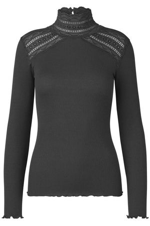 Rosemunde Benita Lace Turtle Neck Long Sleeved Top - Raven