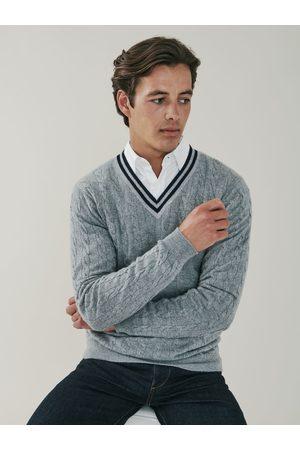 Mr Q Liberty - Striped Cashmere V Neck Sweater