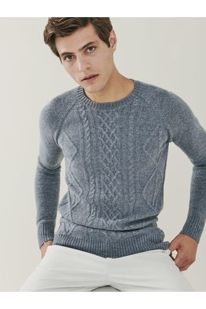 Mr Q Sunday Cashmere Blend Cable Knit Crew Neck Sweater - Heather Grey
