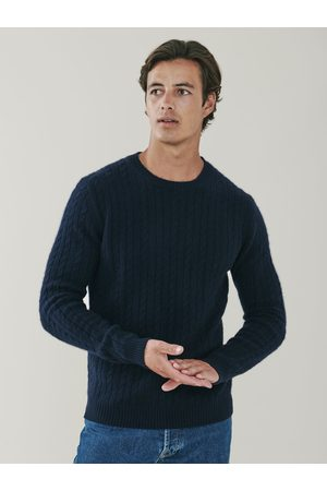Mr Q Afton Cable Knit Cashmere Crew Neck Sweater - Indigo
