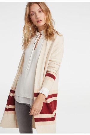 YAYA Long colour block striped cardigan