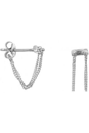 ANNA + NINA Silver Rivet Two Chain Earrings