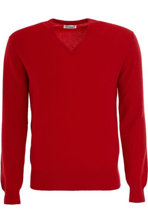 LEATHERSMITH OF LONDON Cashmere Vee Neck Sweater - Cardinal