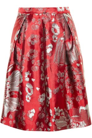 Alice Archer Women Skirts - Beth V Floral Jacquard Skirt - Red