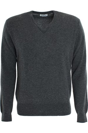 LEATHERSMITH OF LONDON Cashmere Vee Neck Sweater - Grey